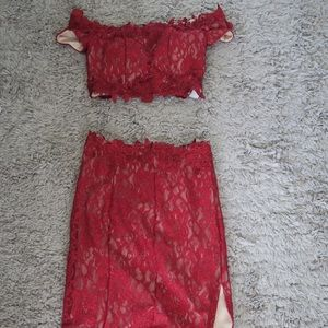 Two-Piece Off the Shoulder Lace Dress